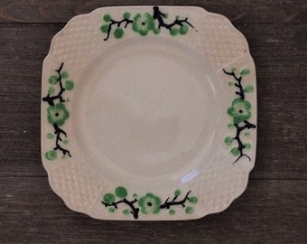 Set of 3 Small Plates - Moriyama Pottery Green Cherry Blossoms - Japan