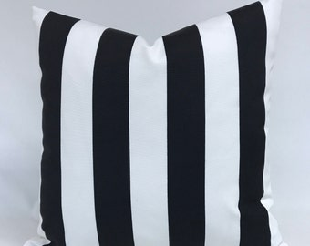 Pillow Cover- Outdoor Fabric - Bold Black and White Wide Stripe- Outdoor - Indoor - Fully Lined - Invisible Zipper