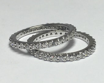 Stack rings 0.50ct each 18kt white gold