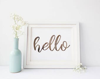 Hello Print-Hello Sign-Wood Grain Hello-Hello Wood Sign-Foyer Print-Hello-Printable Hello-Printable Wall Art-Instant Download-Wall Art Decor