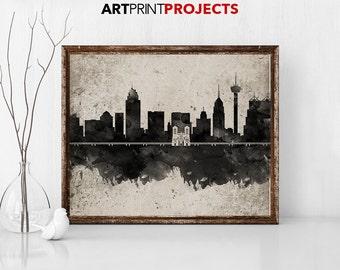San Antonio Skyline Art, San Antonio Print, San Antonio Painting, San Antonio Poster, Colorful San Antonio, Texas Painting ArtPrintProjects