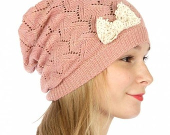 Pink Knit Beanie Pink Knitted Hat Knitted Beanie with Bow Knitted Hat with Bow Pink Beanie Hat Womens Hat Womens Beanie FREE U.S. SHIPPING