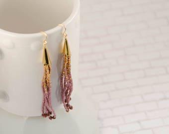 Gold and Fig Colored Tassel Earrings // Seed Bead Earrings // Ombre Color Earrings // Gift for Her // Rose Gold Earrings // Drop Earrings
