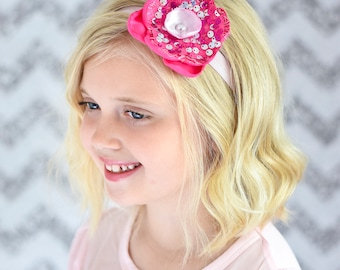 Pink Sequin Singed Flower Headband