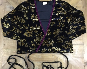 Velvet Floral Wrap Top
