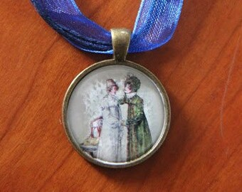 """Necklace on deep blue ribbon """"Advice for Anne Elliot"""""""