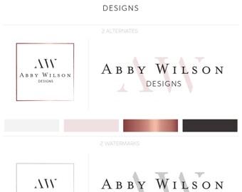 Modern Premade Logo, Rose Gold Logo Kit, Minimalist Logo, Photography Logo, Simple Logo Design, Branding Kit, Photography Branding