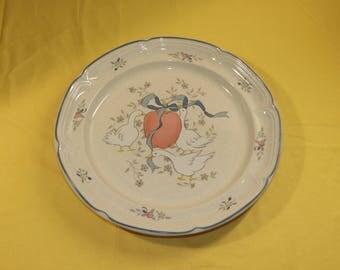 "Vintage International China Platter 12 3/8"",Marmalade Decorative Dinnerware Server Plate,Goose Ceramic Stoneware Serving Dish,Blue Red Beige"
