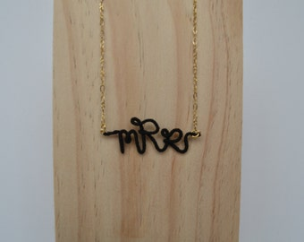 Personalized thread wrapped wire monogram necklace