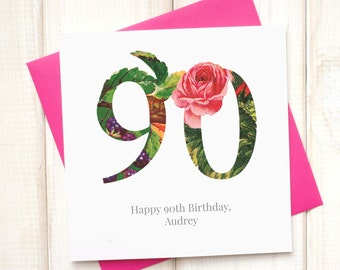 90th Birthday Card - Birthday Card for Her - Floral Birthday Card - Botanical Greetings Card - Great Gran Birthday Card - Milestone Birthday