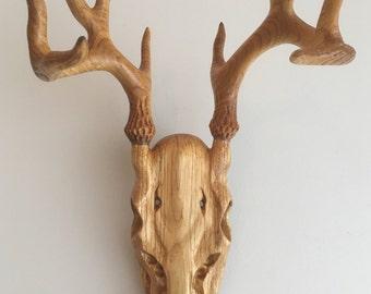 Hand carved wooden deer skull - Willow