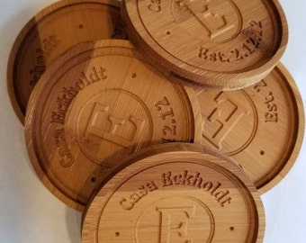 Bamboo Coasters -  Custom Engraved Wood Coasters
