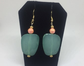 Turquoise and Coral beaded drop earrings
