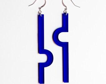 Earrings blue plexiglas • Mizå
