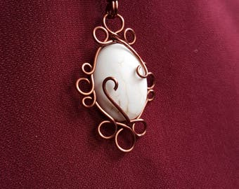 Howlite Ribbon Necklace – Vintage Inspired – Antique Copper Wire Wrapped Pendant