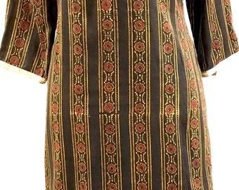 Embroidered yolk long kurti kurta tunic top in printed cotton in black
