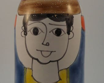 Vintage Nino Parrucca Italian Art Pottery Bottle, Hand Painted