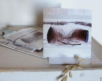 Greeting card with feather and landscape, blank inside, square, giclée print