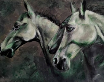 Three horses - Dutch art - painting - Paarden - modern art - home decoration - original - 40 x 60 cm