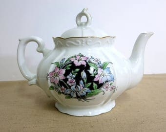 Vintage China Teapot, Vintage China Floral Teapot, Teapot with Pink and Blue Flowers - V205