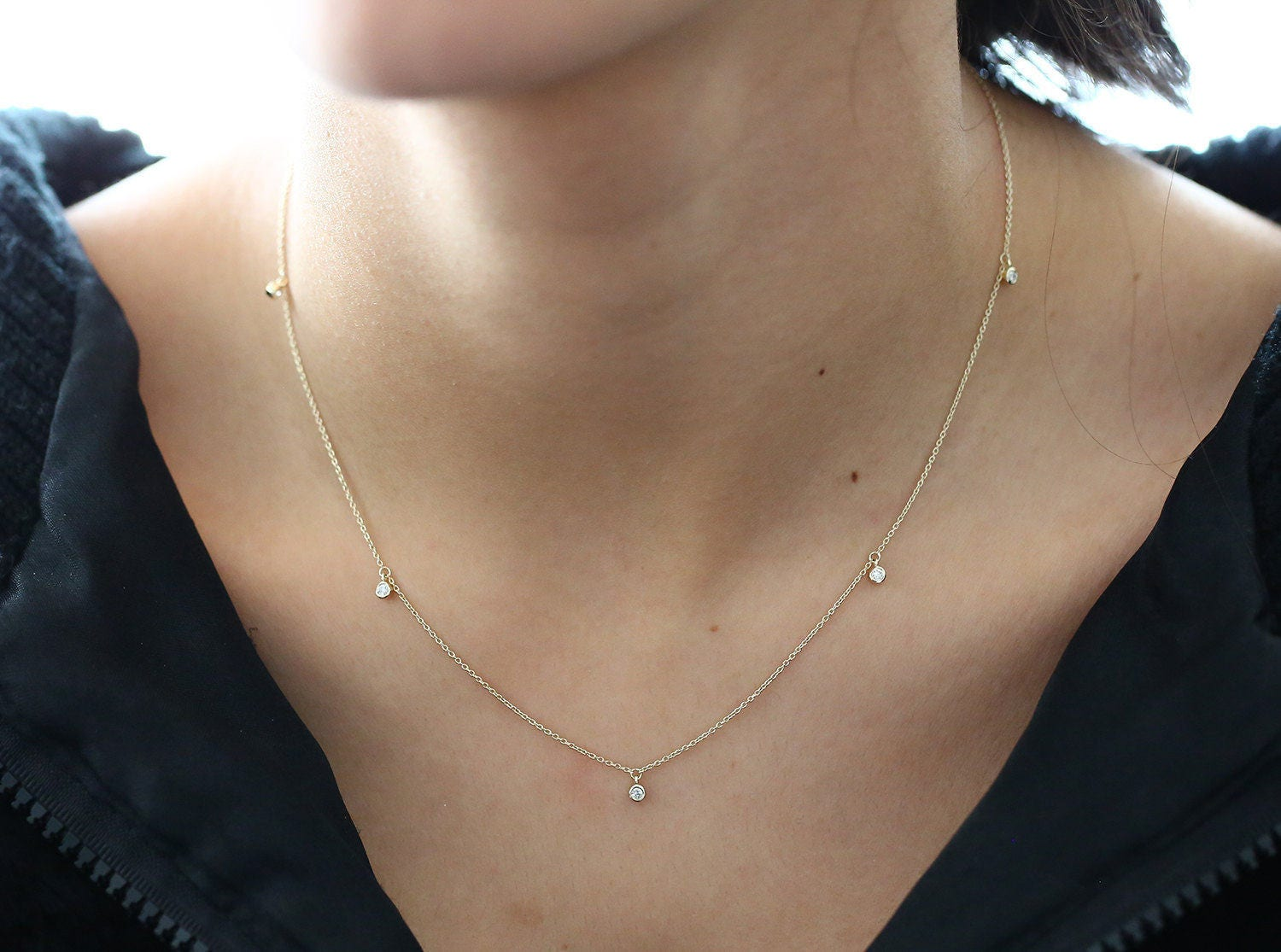 Solitaire Necklace/ Diamond Solitaire Necklace/ 14k Gold 5 Diamond Dangle Necklace/ Dainty Diamond Dangling Necklace/  dangling choker,
