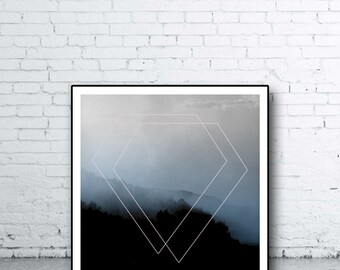 Geometric Wall Print, Wall art, Diamond Print, Misty Mountain, Scandinavian Wall Art, Pink Blue Minimalist Art