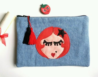 "Rack clutch ""Starlet"" handmade in denim with leather"