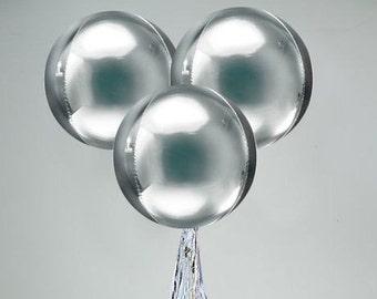 Large Round Silver Balloon/ Round Metallic Silver Balloon/ Silver Balloons/ Glamorous Silver Round Balloons