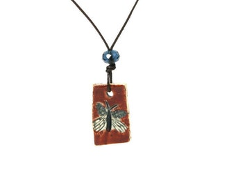 Rustic Red Butterfly Necklace ~ Blue Butterfly Pendant, Ceramic Butterfly Necklace, Mothers Day Gift, Graduation Gift, Artisan Jewelry