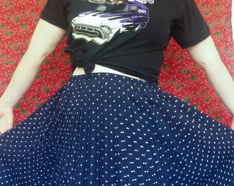 Vintage Retro Navy Blue and White Pleated Sheer Skirt