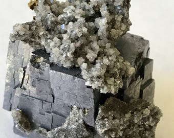 Galena Cube w/ EPIC Dolomite and Chalcopyrite Crystals / 191g / Missouri Rocks, Minerals and Crystals