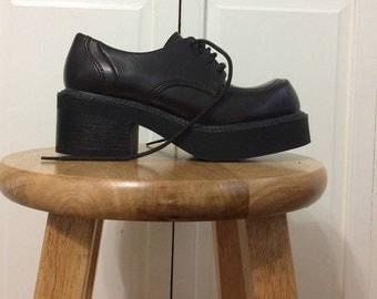 Burgundy/Black Leather Platform Oxfords