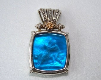 Designer Tagliamonte Blue Venetian Glass Intaglio Two Tone Sterling Silver 14k Yellow Gold - Pendant Enhancer - Vintage - Italian - Italy