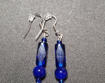 Brilliant Blue Crystal Tube Drop Earrings