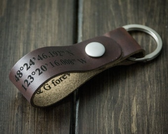 Latitude Longitude Keychain, Personalized Keychain, GPS Coordinates, Leather Key Chain, Custom Coordinates Keychain - Chocolate