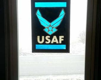Air Force | Window Art | faux stained glass | painted glass | sun catcher