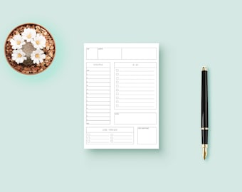Bullet Journal Blank Daily Planner Customizable with Goal Tracker, Schedule, To Do List, Notes and Daily Gratitude (PDF Download Printable)
