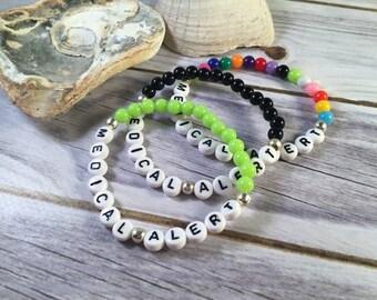 PERSONALISED Medical Alert Bracelet - Beaded Letter Bracelet - Medical Bracelet - Awareness Bracelet - Acrylic Bead Bracelet