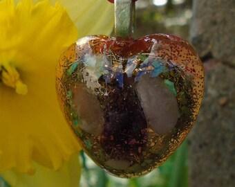 Orgone battery heart pendant, jewelry piece, Talisman a heart for children