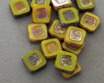 4 square beads Czech glass 14 x 14 mm, green, yellow, copper, opaque, bi - colored