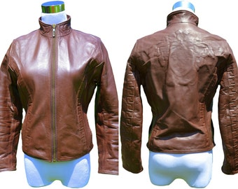VERSACE Womens Vintage Retro Leather Medusa Embossed Jacket sz XS/S