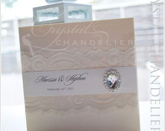 "Vintage Elegant ""Marissa"" Wedding Invitation - Wedding Invitation Square SAMPLE"