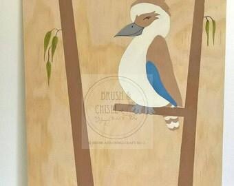 Nursery wall decor, handpainted Kookaburra,  wood wall art