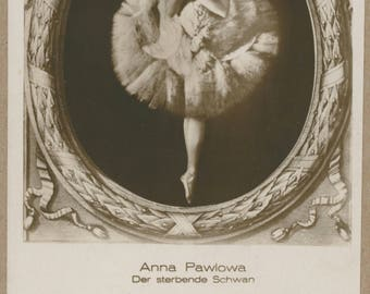 Anna Pavlova | The Dying Swan | Russian Prima Ballerina | Sepia Illustrated Cameo Portrait Postcard | Antique Ballet Collectible