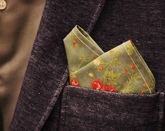 Floral Design Men's Pocket Square (Blue)