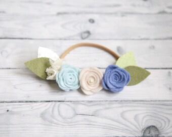 Baby girl headband, Felt rose headband, Felt flower headband, Rose hair clip, Baby headband, Newborn props, Nylon headband, Trio flower clip
