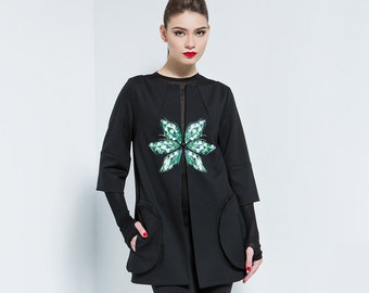 Elegant loose fit jacket,Black jacket,Jacket with print,Elegant jacket,Womens jacket,Jersey jacket.