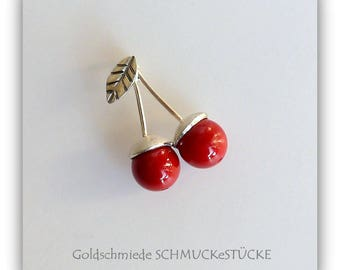 Trailer - sweet cherries - handmade in 925 Silver with red shell pearls
