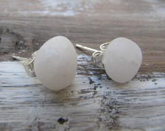 White Beach Pebble Stud Earrings