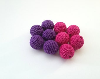 "Crochet beads 18 mm 5 PCS 5/8"", Wooden cotton beads, Handmade crocheted wooden beads, Pink, Purple, Jewelry supplies, Teething toy, Perles"